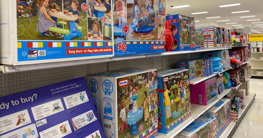 children's outside toys on shelf