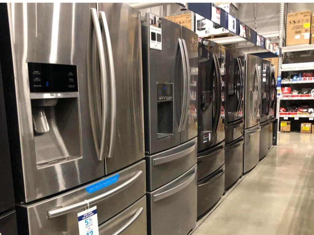 Refrigerators display models at store