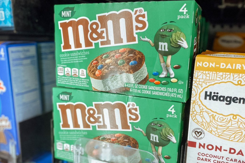 M&M'S Mint Chocolate Chip Ice Cream Sandwich at grocery store