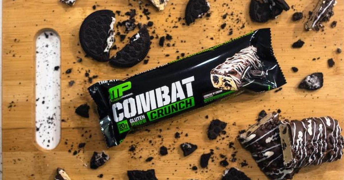MP Combat Crunch cookies n cream on cutting board