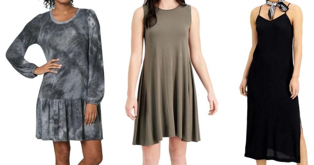 three women wearing dresses