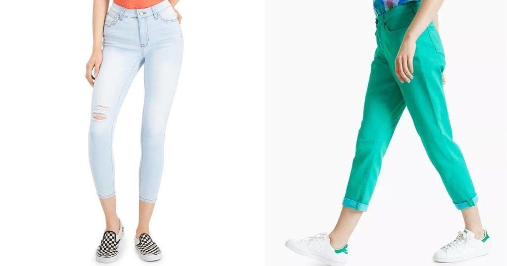 two women wearing jeans