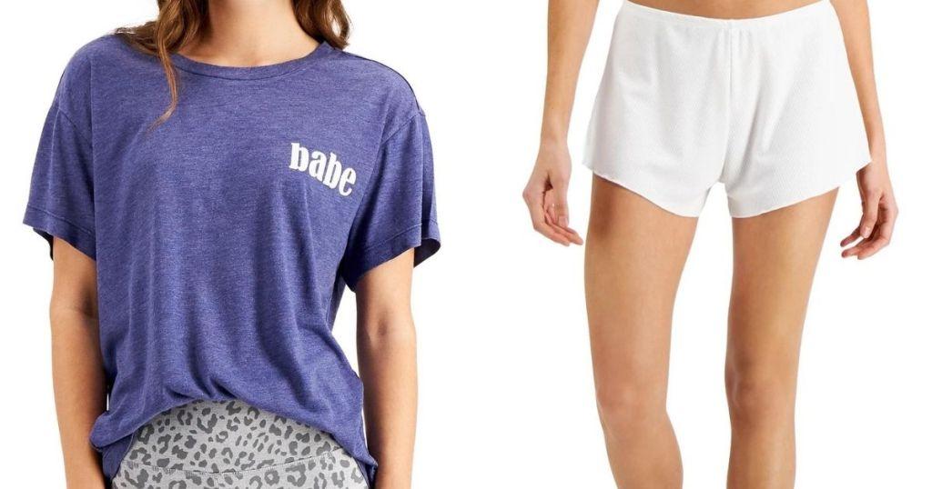 woman wearing a pajama shirt and a woman in pajama shorts