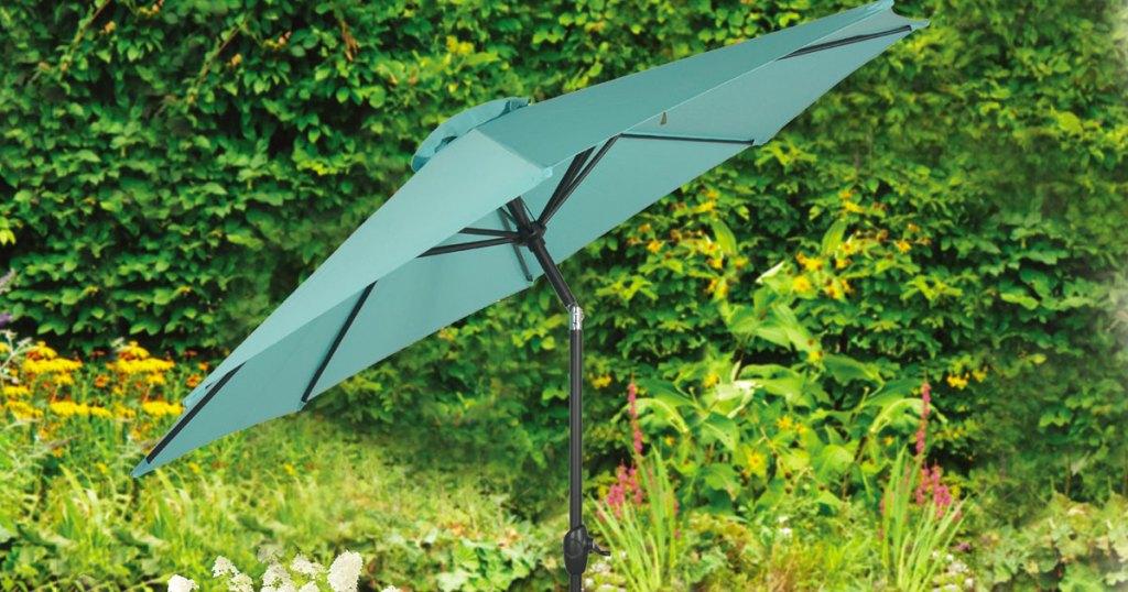 teal outdoor patio umbrella