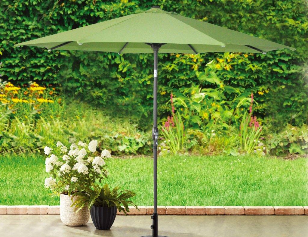 green outdoor patio umbrella