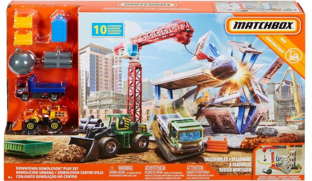 Matchbox Downtown Demolition Playset with Crane and Wrecking Ball set