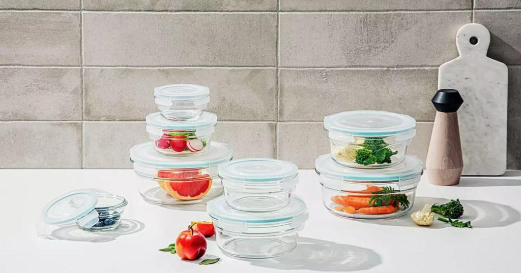 Member's Mark 16-Piece Round Shape Glass Food Storage Set