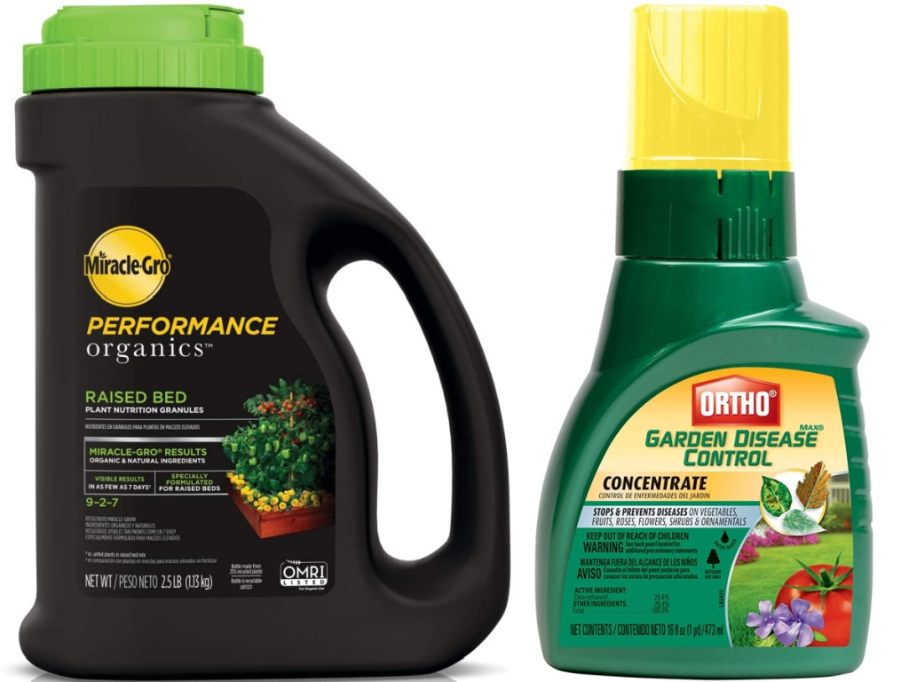 Miracle-Gro Performance Organics Raised Bed Plant Nutrition Granules 2.5 lbs and Ortho MAX Garden Disease Control Concentrate 16-oz