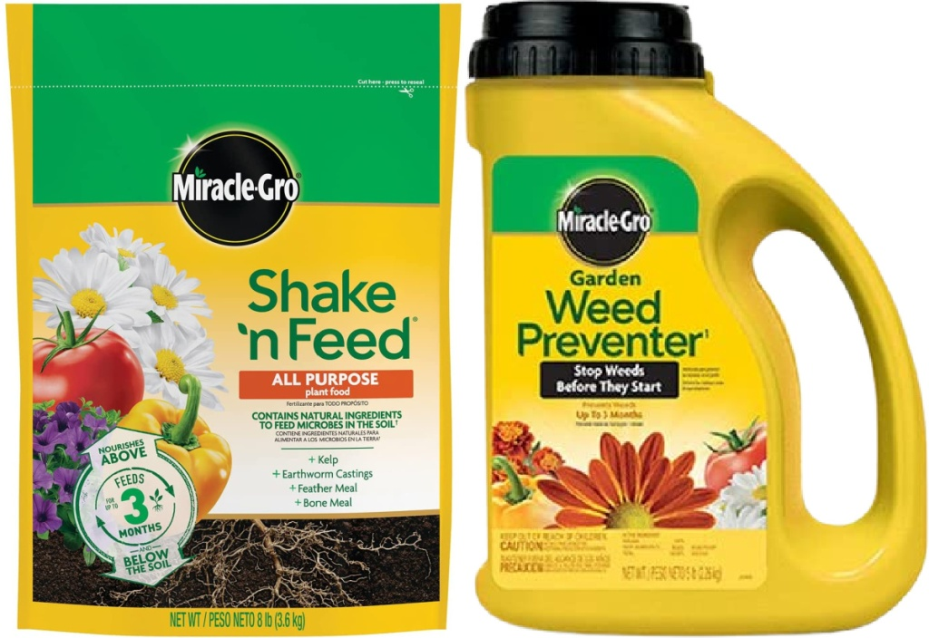 Miracle-Gro Shake 'N Feed All Purpose Plant Food 8-lbs and Miracle-Gro Garden Weed Preventer1 5-lbs