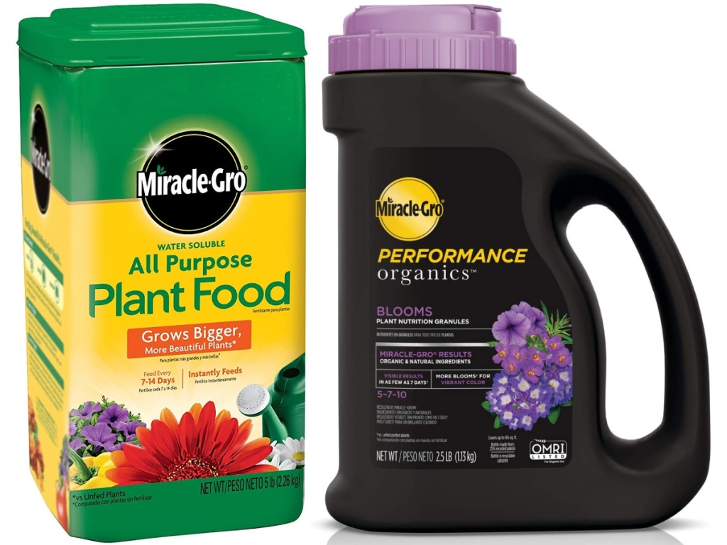 Miracle-Gro Water Soluble All Purpose Plant Food 5-Lbs and Miracle-Gro Performance Organics Blooms Plant Nutrition Granules 2.5-Lbs