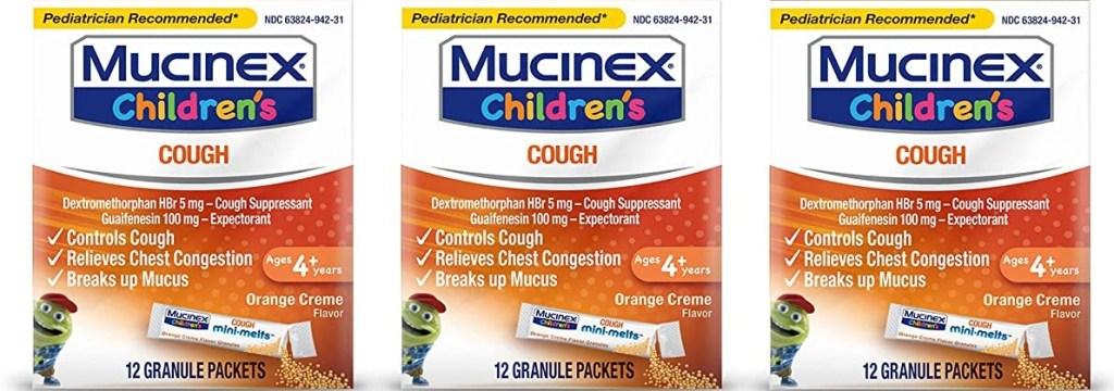 three boxes of Mucinex Children's Cough