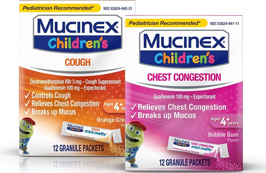 two boxes of Mucinex Children's melts