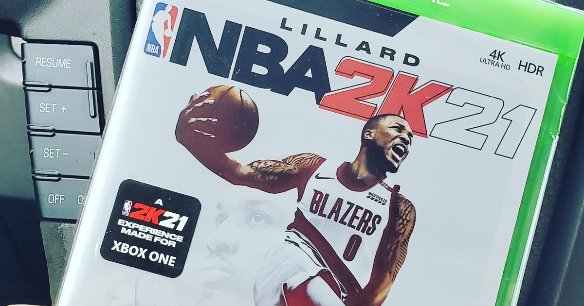 close up of an nba video game case