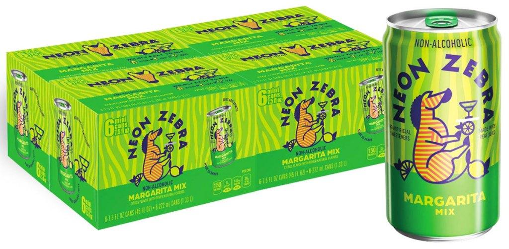 case of neon zebra margarita mixer cans