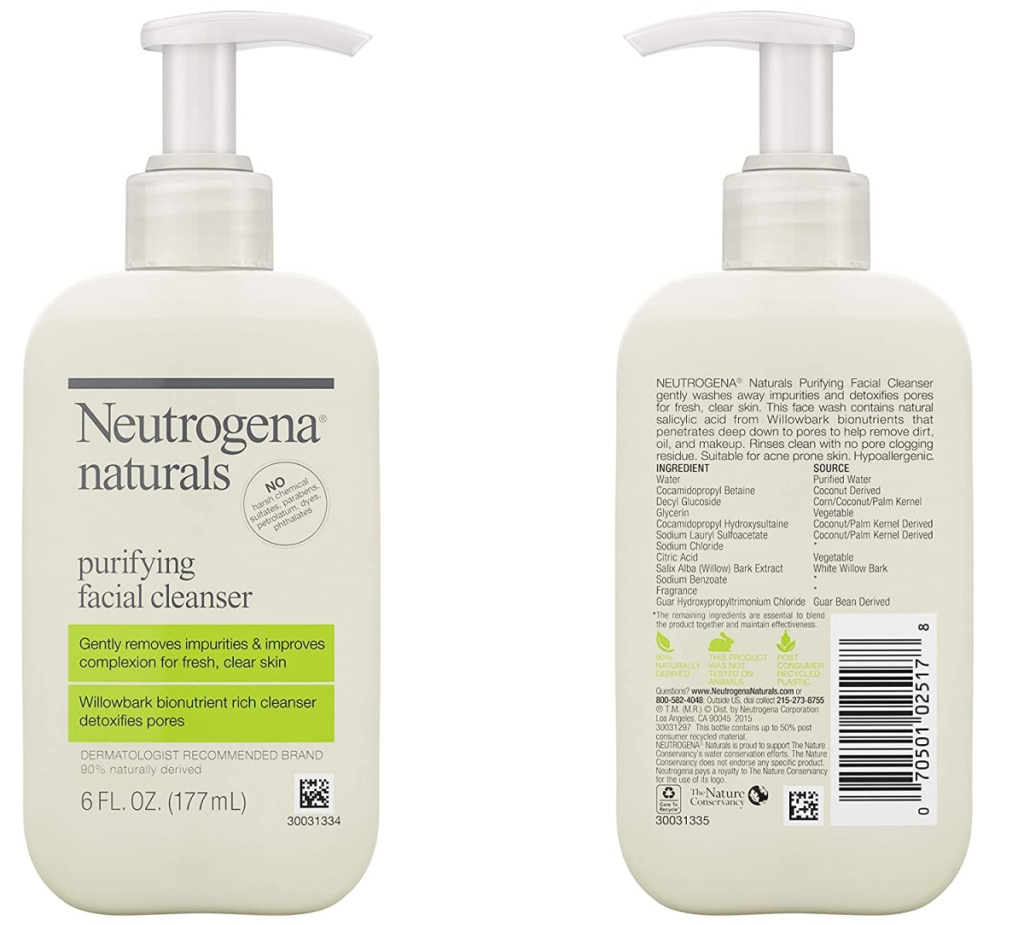 front and back view of a facial cleanser