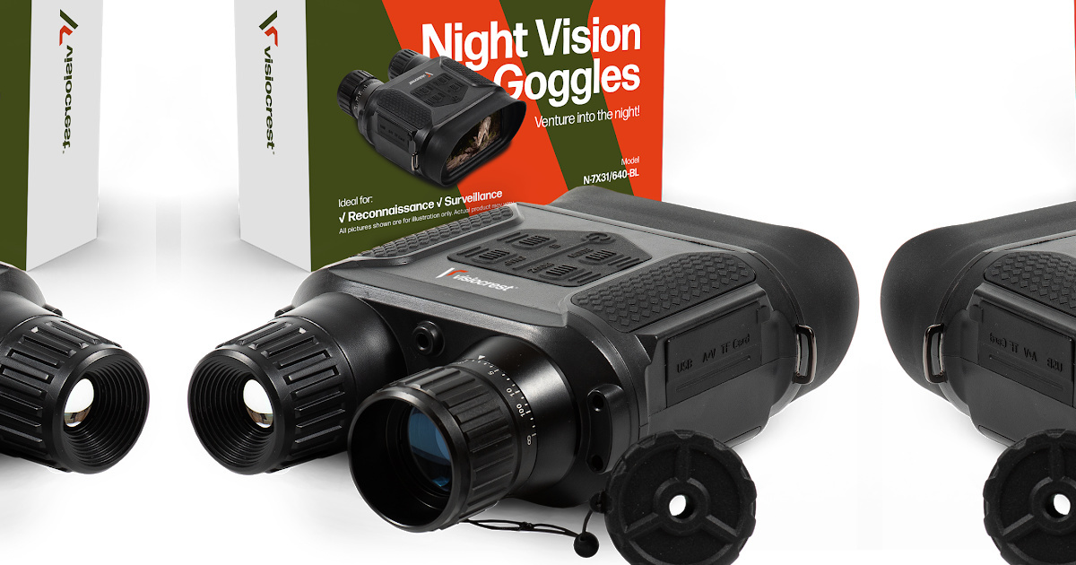 stock image of night vision goggles in and out of packaging