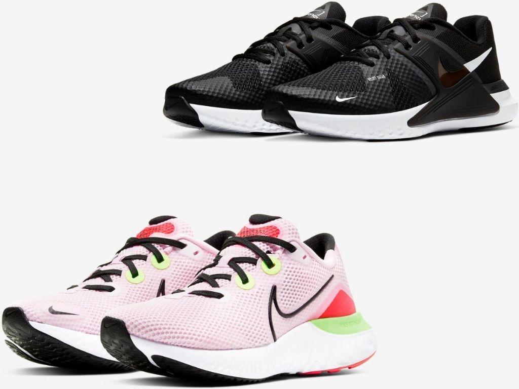 two pairs of Nike Women's & Men's Sneakers