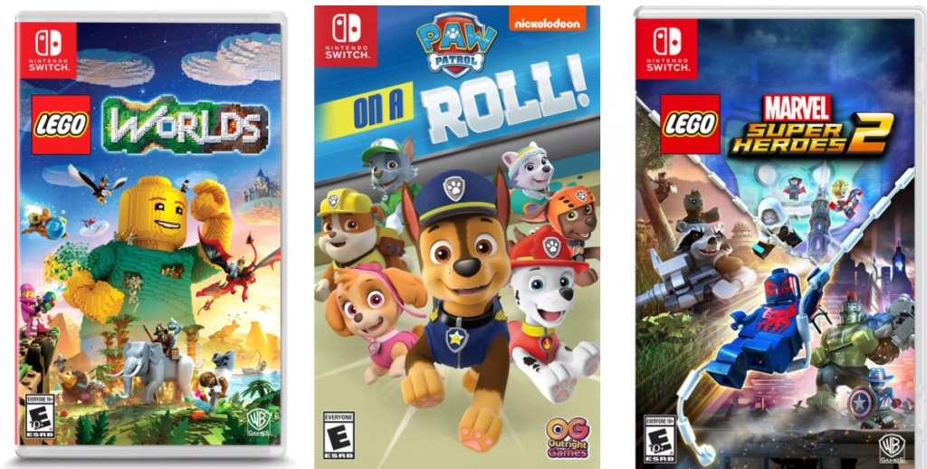 three Nintendo Switch video games