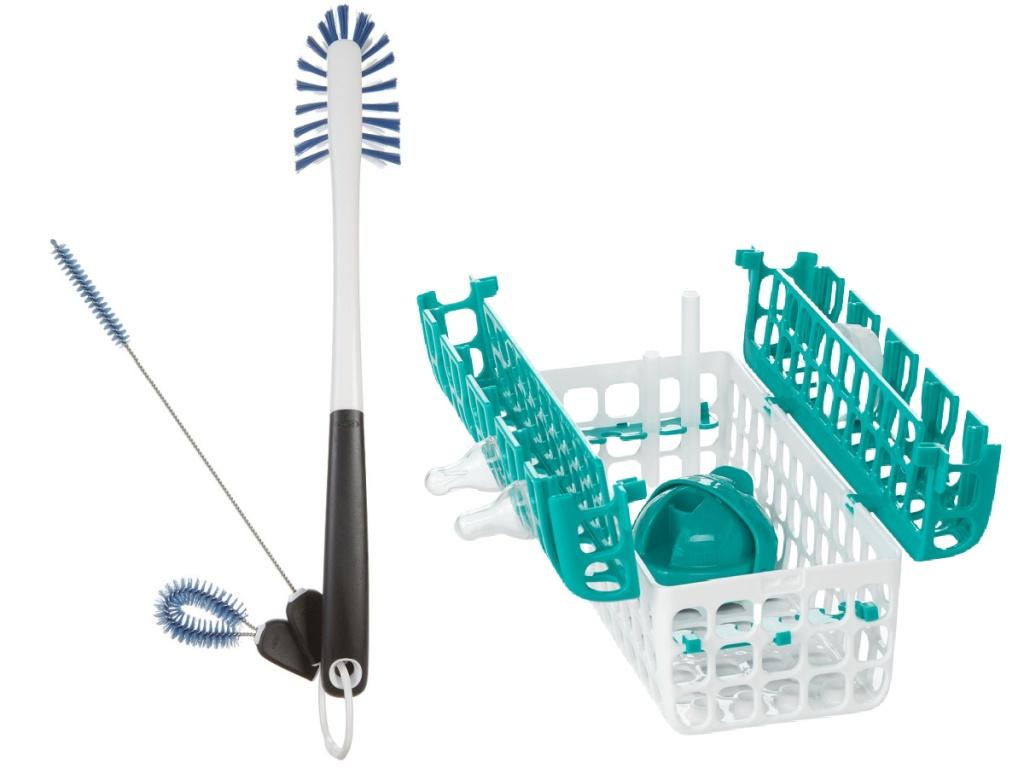 OXO dish brush and dishwasher container