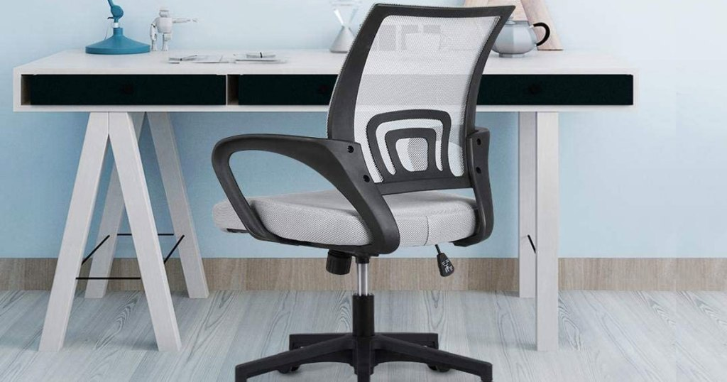 mesh office chair at a desk