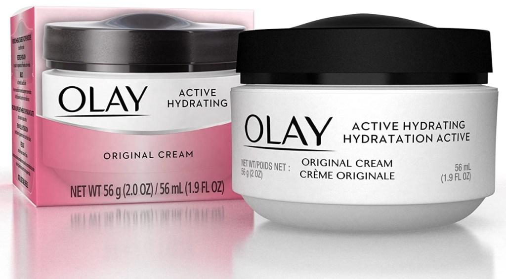 Olay brand jar cream near packaging