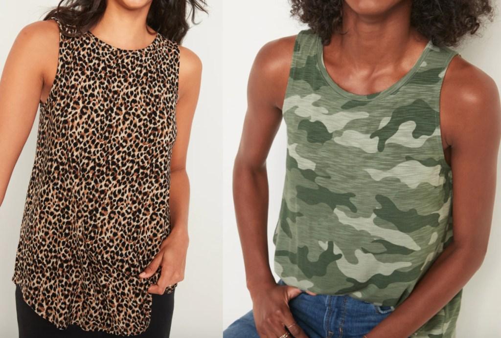 2 women wearing old navy luxe tank tops