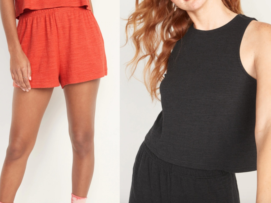 old navy comfy women's shorts and cropped tank