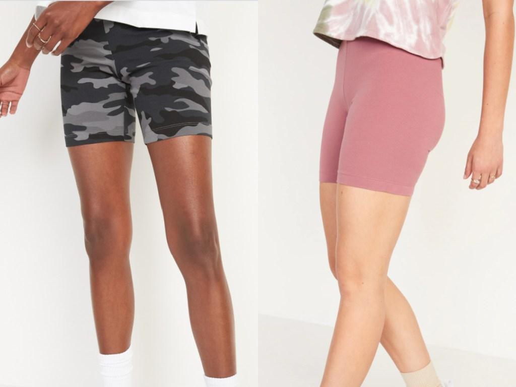 2 women wearing old navy bike shorts
