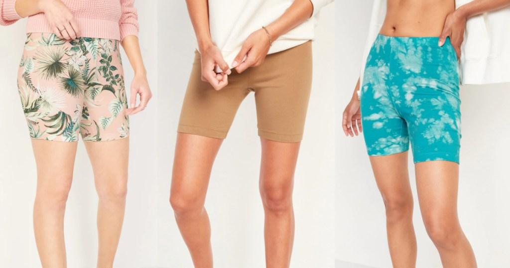 3 women wearing old navy bike shorts