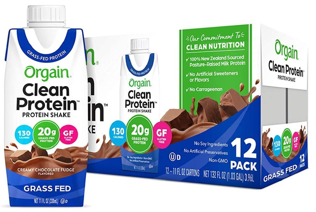 Orgain Grass Fed Clean Protein Shake, Creamy Chocolate Fudge 12 count
