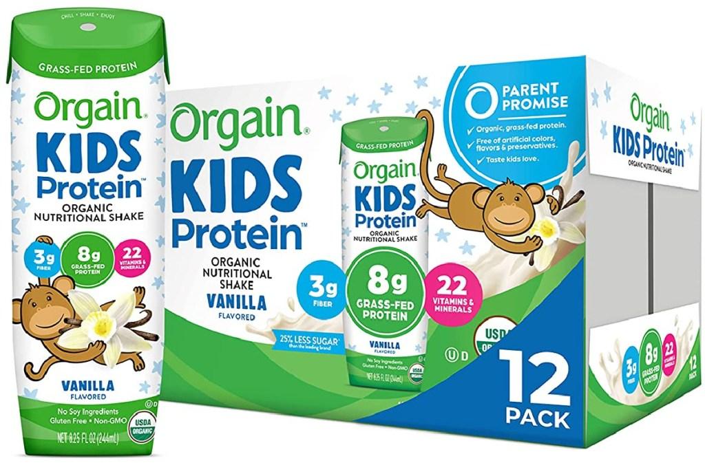 Orgain Organic Kids Protein Nutritional Shake Vanilla 12 count