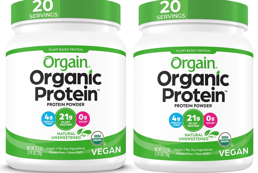 two Orgain Organic Unflavored Plant Based Protein Powder, Natural Unsweetened