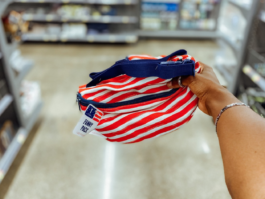 hand holding a patriotic fanny pack