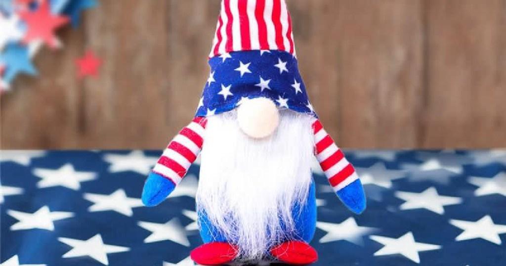 stuffed gnome wearing patriotic apparel