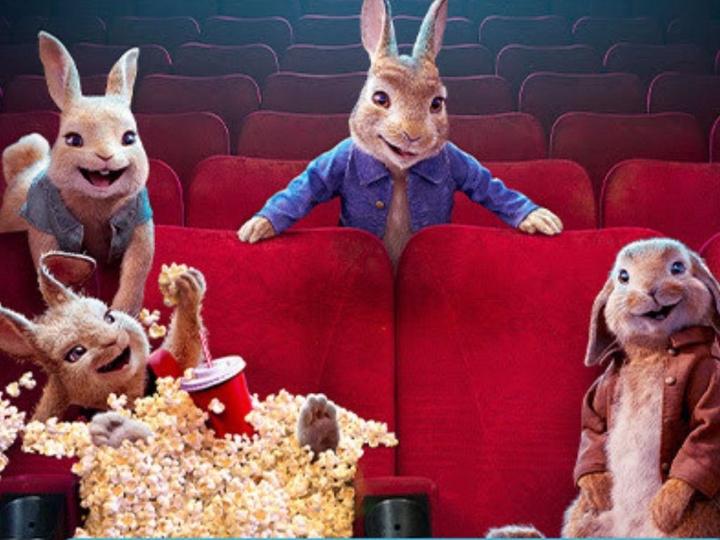 Peter Rabbit and friends in movie theater