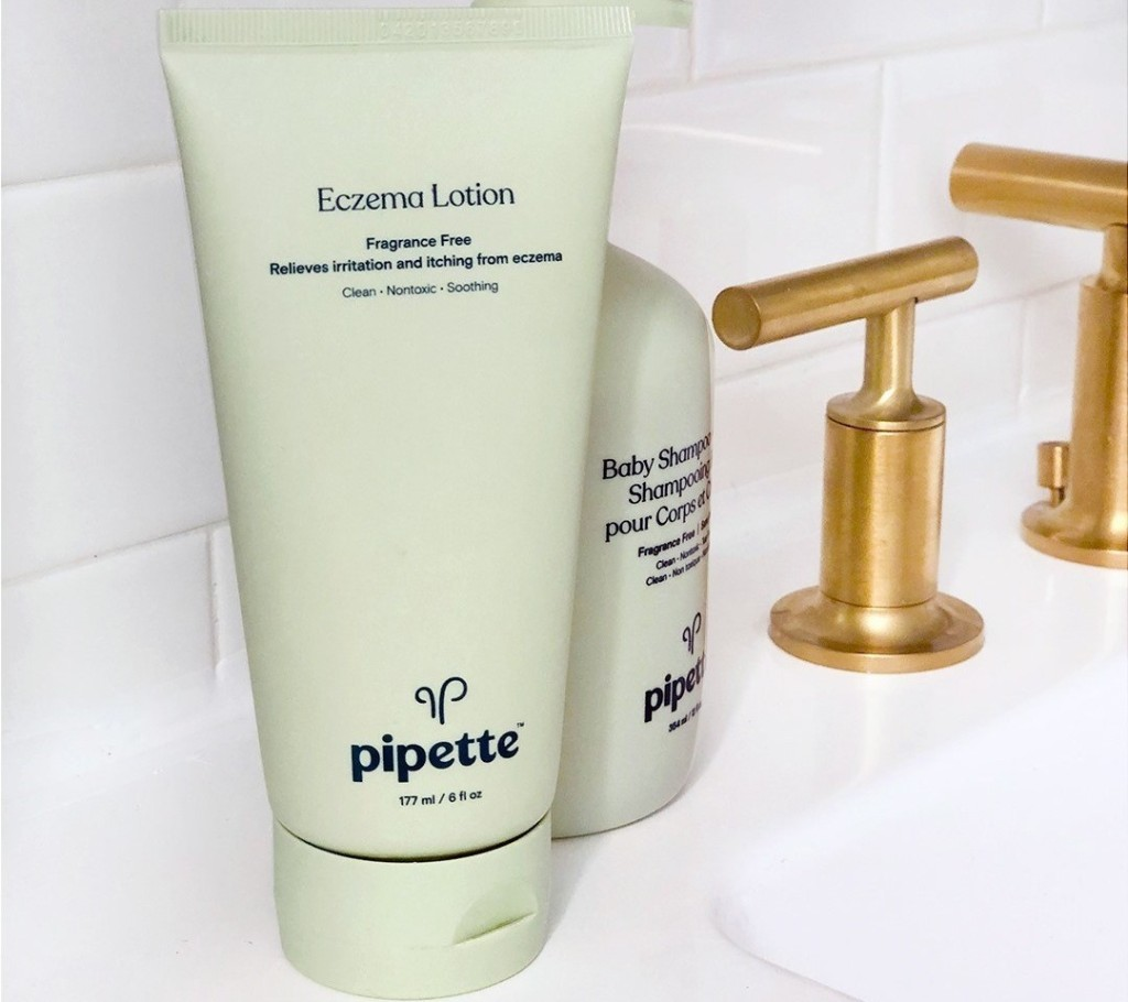 Pipette Eczema Lotion on a bathroom counter