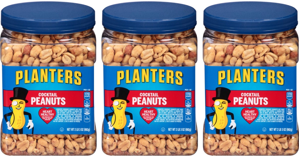 3 containers of planters salted peanuts