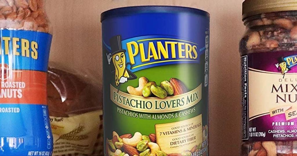 containers of Planters nuts on a shelf