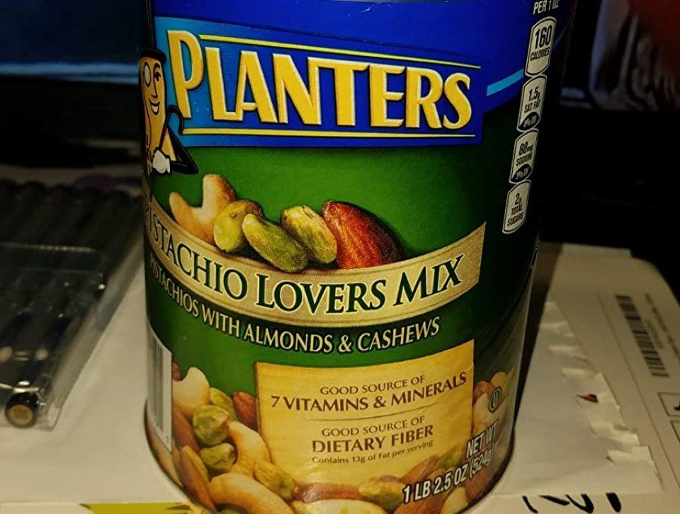 can of Planters Pistachio Mix