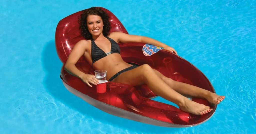 woman on a pool float