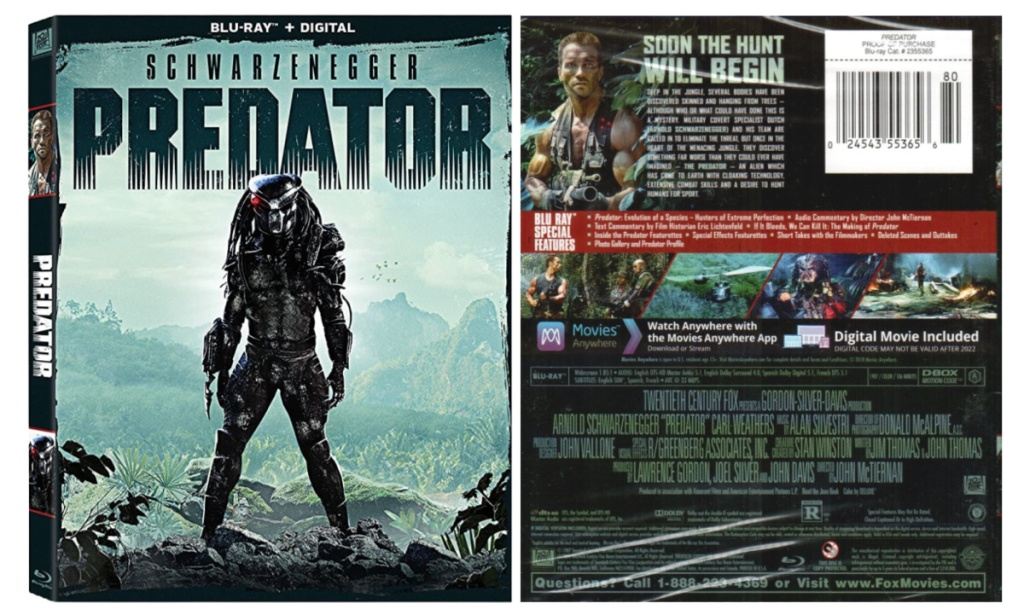 Predator the movie front and back
