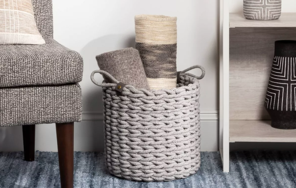 rope basket by a shelf and chair