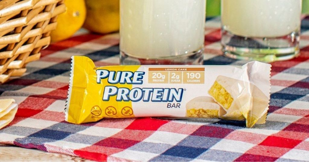 Pure Protein lemon cake bar on a table