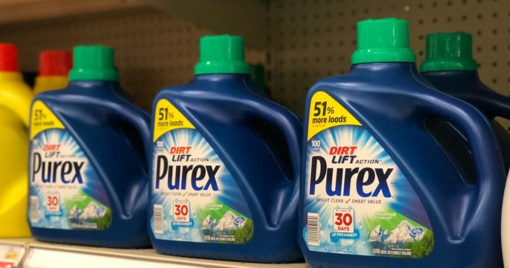 row of purex laundry detergent
