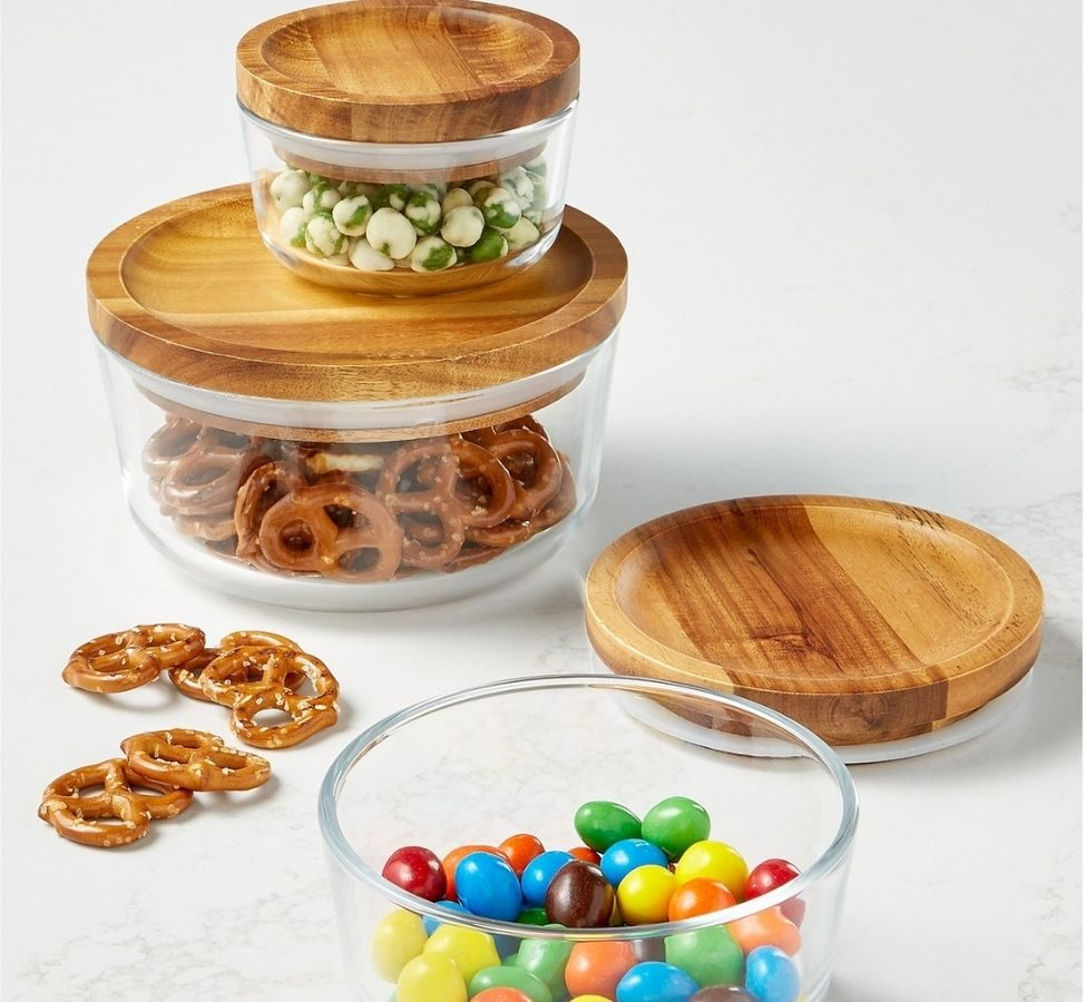 Pyrex Storage with wooden lids