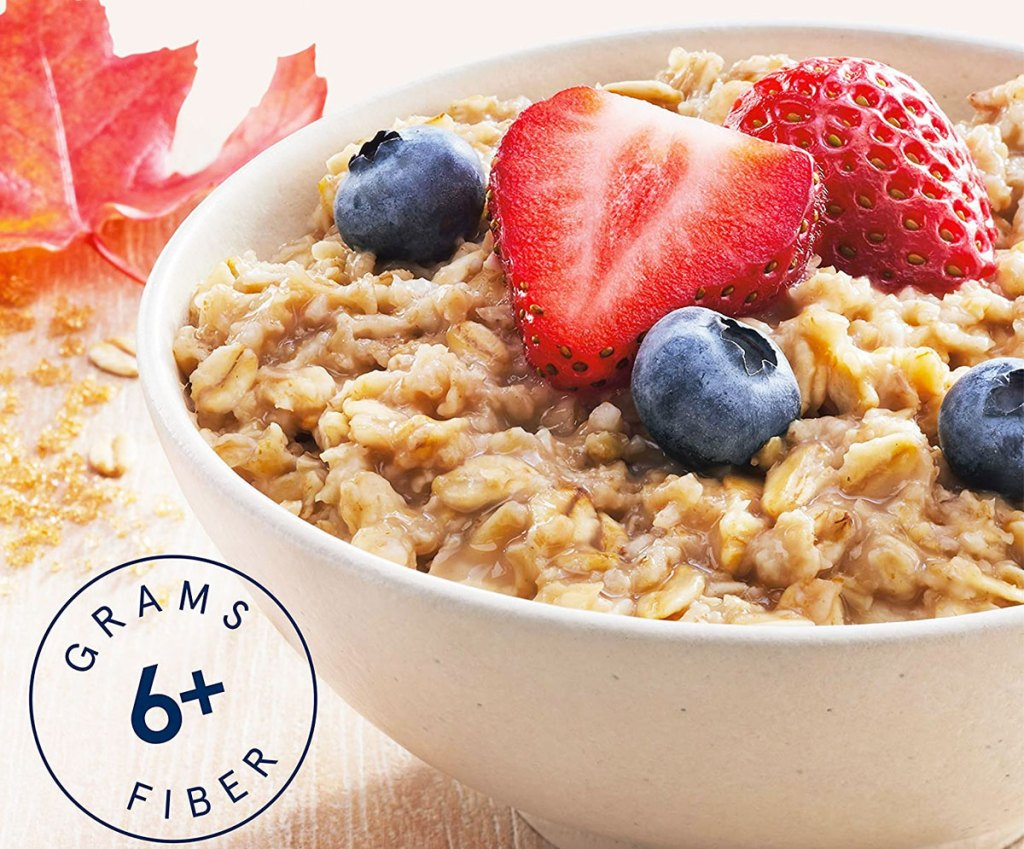 bowl of oatmeal with berries on top