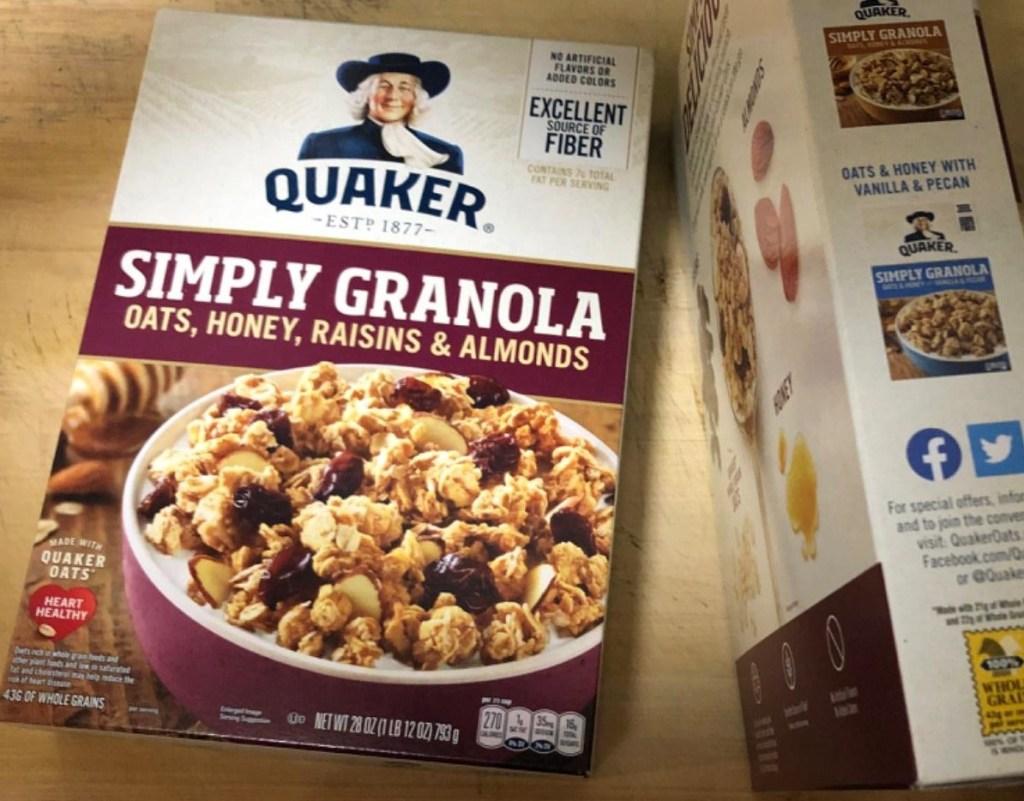 Quaker Simply Granola box