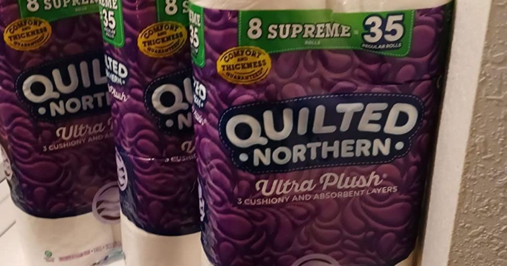 three packs of Quilted Northern toilet paper