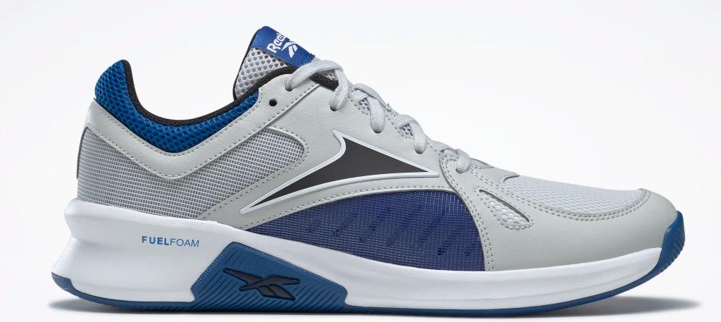 blue, grey and white Reebok shoe