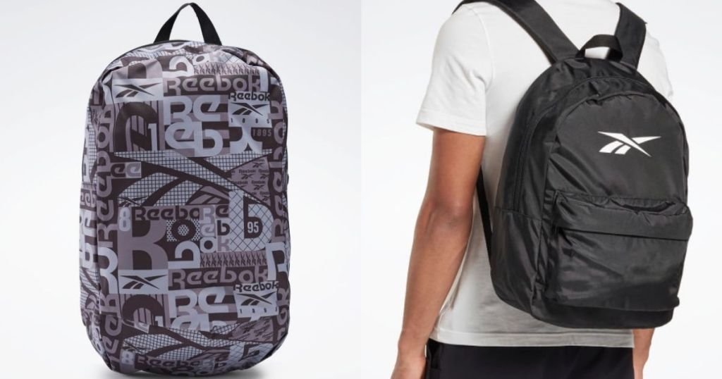 Reebok backpack and someone wearing a backpack